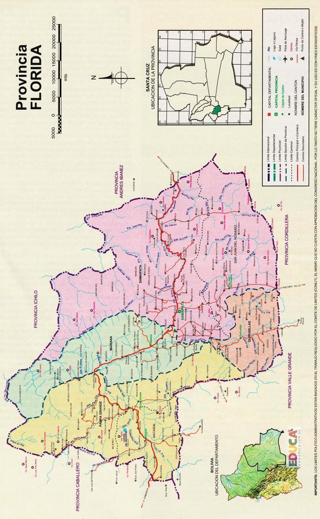 Mapa Provincia Florida - Santa Cruz Bolivia