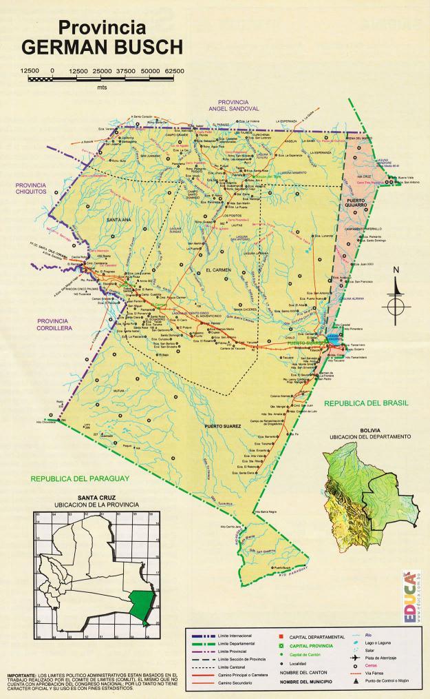 Mapa Provincia Germán Busch - Santa Cruz Bolivia