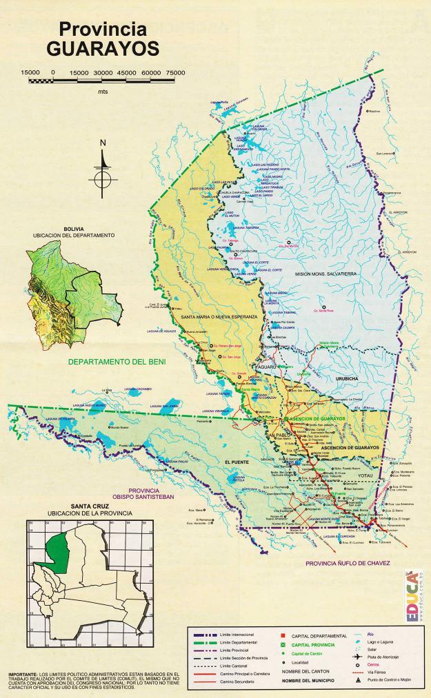 Mapa Provincia Guarayos - Santa Cruz Bolivia