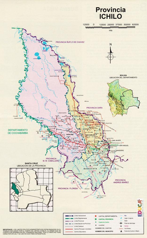 Mapa Provincia Ichilo - Santa Cruz Bolivia