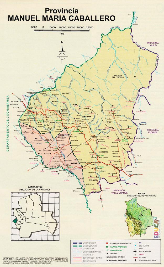 Mapa Provincia Manuel María Caballero - Santa Cruz Bolivia