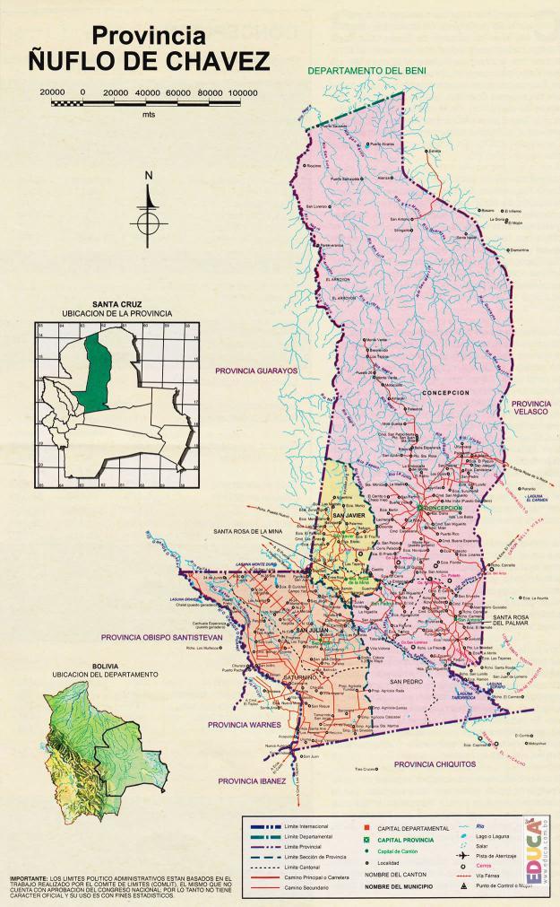 Mapa Provincia Ñuflo de Chaves - Santa Cruz Bolivia