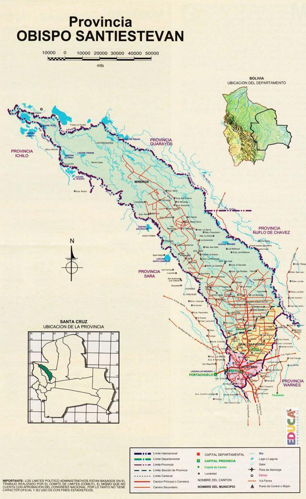 Mapa Provincia Obispo Santistevan - Santa Cruz Bolivia