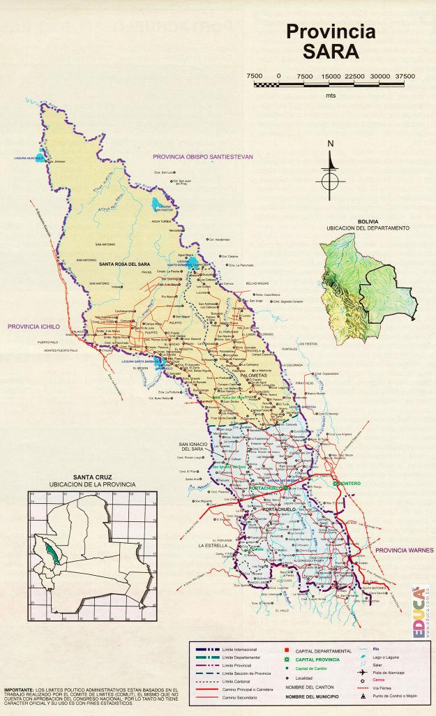 Mapa Provincia Sara - Santa Cruz Bolivia
