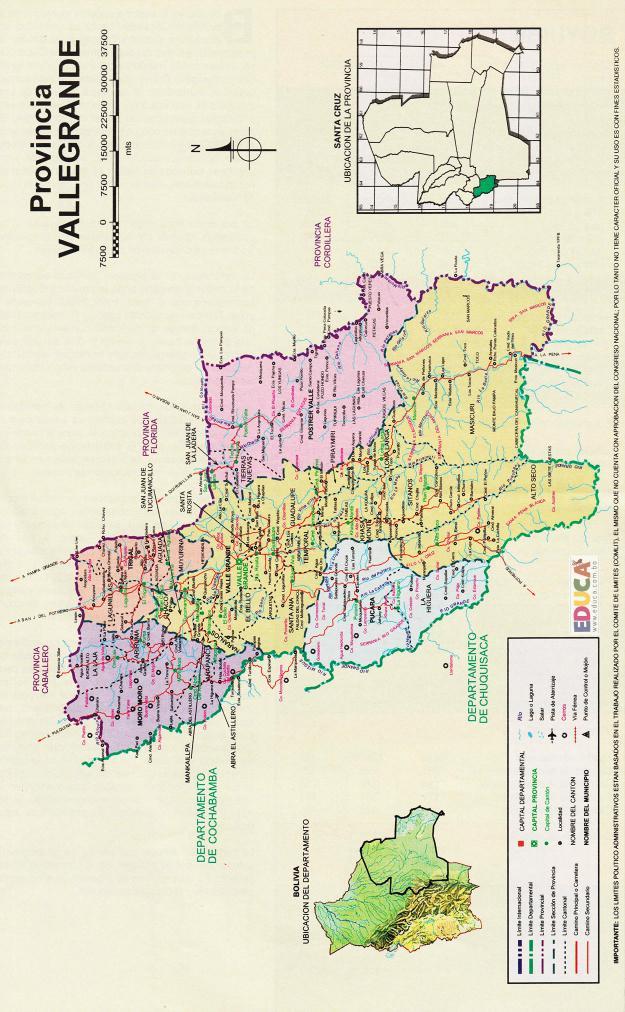 Mapa Provincia Vallegrande - Santa Cruz Bolivia