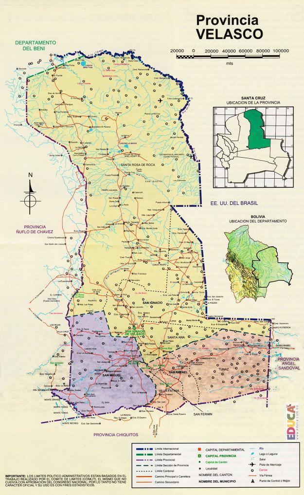 Mapa Provincia Velasco - Santa Cruz Bolivia