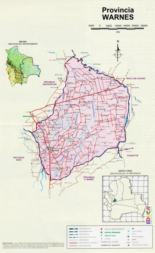 Mapa Provincia Warnes - Santa Cruz Bolivia