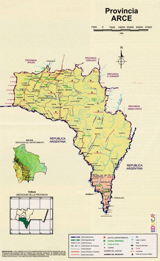 Mapa Provincia Aniceto Arce - Tarija Bolivia