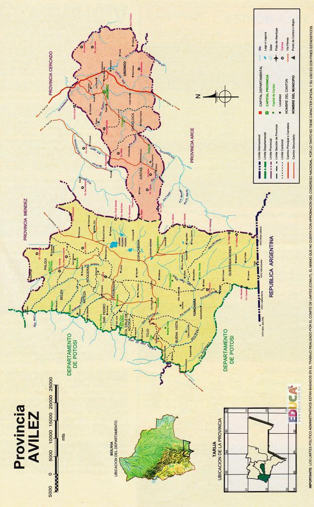 Mapa Provincia José María Avilés - Tarija Bolivia