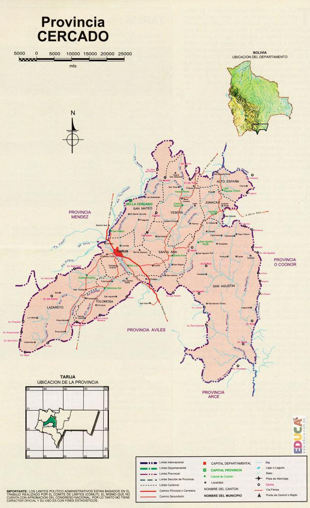 Mapa Provincia Cercado - Tarija Bolivia