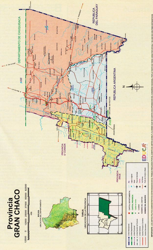 Mapa Provincia Gran Chaco - Tarija Bolivia