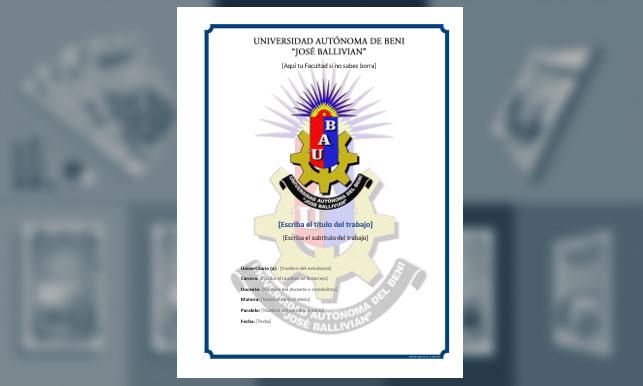 "Carátula - Universidad Autónoma del Beni ""José Ballivian"""