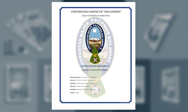 "Carátula - Universidad ""Mayor de San Andrés"" (UMSA)"