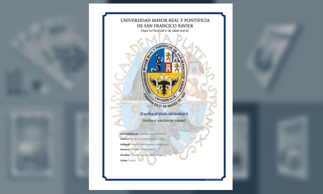 Carátula - Universidad Mayor Real y Pontificia de San Francisco Xavier